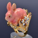 Pink Enamel Bunny Rabbit Cocktail Ring Size 8# W/ Swarovski Crystals For Easter