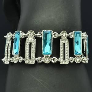 Silver Tone Blue Oblong Rhinestone Crystals Flower Bracelet Chain 8943B