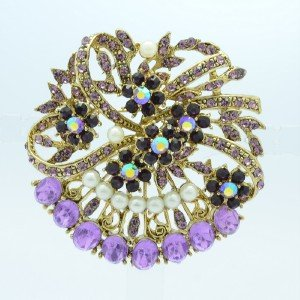 "Rhinestone Crystals Faux Pearl Purple Flower Brooch Broach Pin 2.1"" 5837"