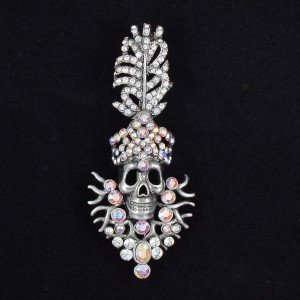 "Swarovski Crystals Cool Clear Feather Skull Brooch Pin 2.9"" For Halloween 4357"