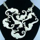 Trendy Enamel Multi Sea Horse Necklace Pendant w/ Rhinestone Crystals