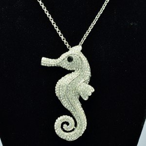 Pretty Sea Horse Necklace Pendant w/ Rhinestone Crystals 6 Colors