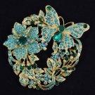 Green Flower Butterfly Brooch Broach Pin W/ Rhinestone Crystals 4489