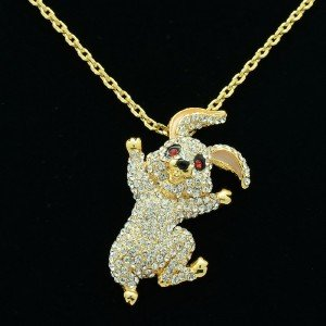 High Quality Rabbit Necklace Pendant W/ Swarovski Crystals 4 Color SN2962