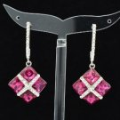 Fashion Pierced Fuchsia Quadrate Earring W/ Clear Rhinestone Crystals 124615