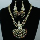H-Quality Multicolor Peafowl Peacock Necklace Earring Set W/ Swarovski Crystals