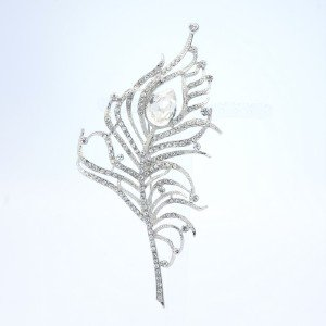 "Chic Clear Rhinestone Crystals Peacock Feather Brooch Broach Pin 4.9"" 5860"