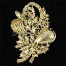 """Chic Green Flower Brooch Broach Pin 3.5"""" W/ Rhinestone Crystals 4622"""