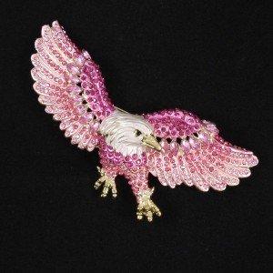 """Pretty Pink Animal Eagle Brooch Pin 3.5"""" W Rhinestone Crystals 4717"""