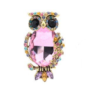 "Vintage Style Pendent Animal Owl Brooch Pin 1.9"" W/ Mix Rhinestone Crystals 5014"