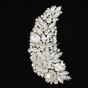 "Clear Rhinestone Crystals 4.8"" Drop Floral Brooch Broach Pin Wedding 4058"