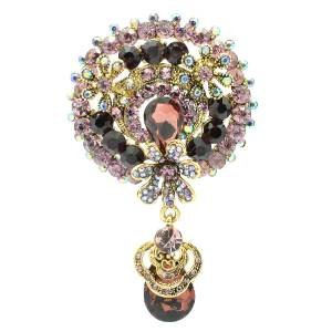 "Drop Chic Purple Flower Brooch Broach Pendant Pin 2.9"" Rhinestone Crystals 6320"