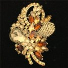 "Chic Flower Brooch Broach Pin 3.5"" W/ Brown Rhinestone Crystals Gold Tone 4622"
