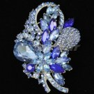 "Chic Fashion Blue Flower Brooch Broach Pin 3.5"" Rhinestone Crystals 4622"