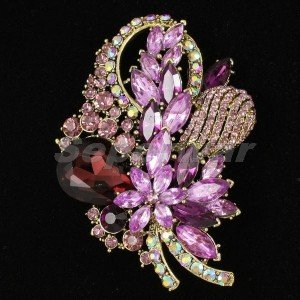 "Chic Purple Flower Brooch Broach Pin 3.5"" W/ Rhinestone Crystals 4622"