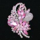 """Fashion Pink Drop Rhinestone Crystals Flower Brooch Broach Pin 3.5"""" 4622"""