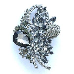 "Vogue Teardrop Black Flower Brooch Broach Pin 3.5"" Rhinestone Crystals 4622"