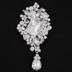 """Rhinestone Crystals Wedding Clear Flower Brooch Broach Pin 3.7"""" 4823"""