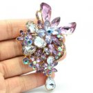 "Rhinestone Crystals Purple Drop Flower Brooch Broach Pin 3.4"" W/ Gold Tone 5997"