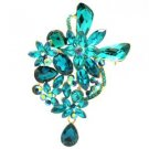 "Rhinestone Crystals Blue Ziron Teardrop Flower Brooch Broach Pin 3.4"" 5997"