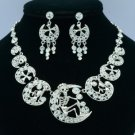 H-Quality Moon Skeleton Skull Necklace Earring Set W/ Swarovski Crystals SNA3175
