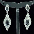 Rhinestone Crystals Clear Dangle Pierced Flower Earring W/ Black Zircon 20464
