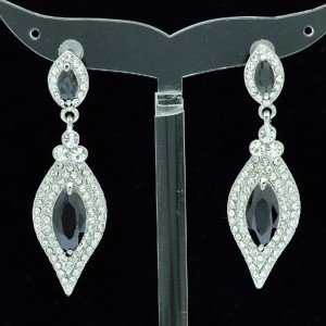 Rhinestone Crystals Clear Dangle Pierced Flower Earring W/ Black Zircon 20464