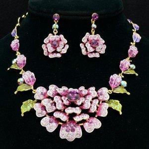 High Quality Purple Swarovski Crystals Leaf Flower Necklace Earring Set JN2263