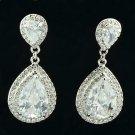 Wedding Bridal Clear Zircon Tear Drop Earring W Rhinestone Crystals 10006