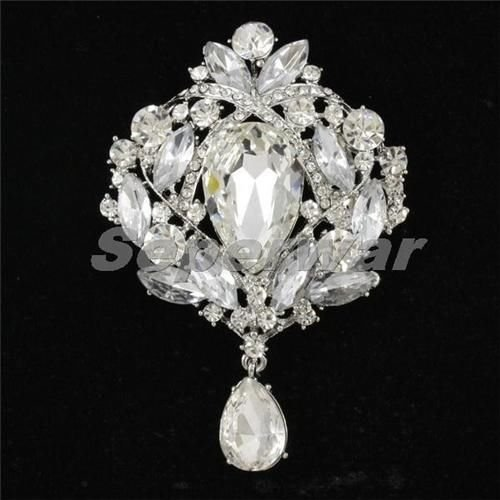 Wedding Rhinestone Crystals Drop Bouquet Flower Brooch Pin Jewelry 9 Colors 4082