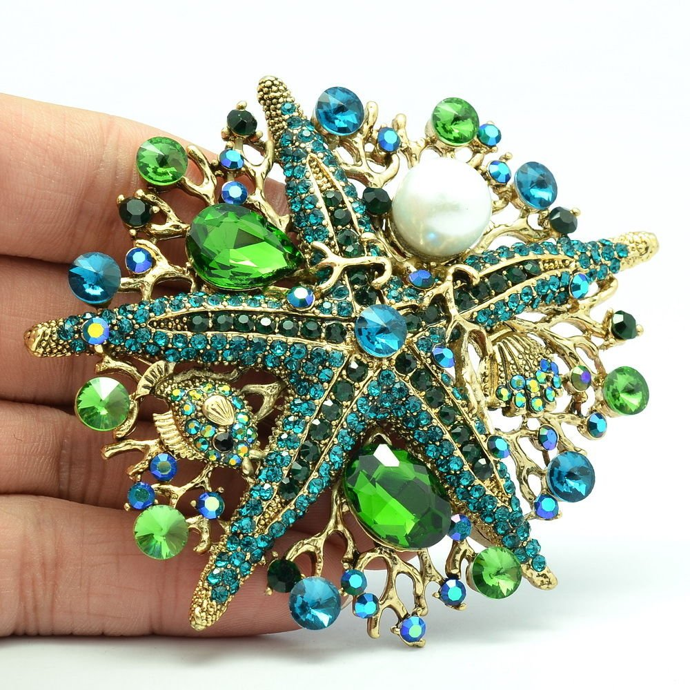 Jade Green Starfish Brooch Broach Pin Rhinestone Crystal Women Accessories 6412