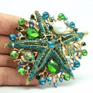Jade Green Starfish Brooch Broach Pin Rhinestone Crystal Women Accessories 6412