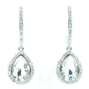 Wedding Tear Drop Pierced Dangle Earrings Clear Rhinestone Crystal Bridal 214114