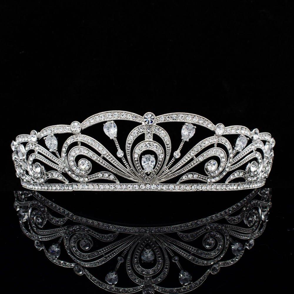 Wedding Bridal VTG Style Rhinestone Crystals Flowers Crown Headband Zircon1326R