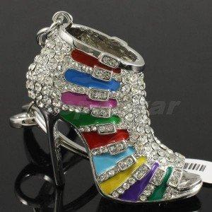 Fashion Multicolor High-Heel Shoe Key Chain Key Ring W Rhinestone Crystal FB1082