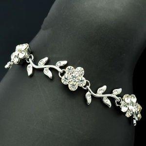 Bridal Cute Leaf Flower Wedding Bracelet Chain Clear Rhinestone Crystals S0293