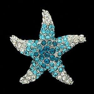 Cute Blue Starfish Brooch Broach Scarf Pins For Women Rhinestone Crystals FA0189