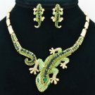 Vogue Jewelry Green Lizard  Necklace Earring Set Rhinestone Crystal Women FA3274