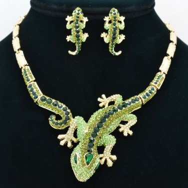 Vogue Jewelry Green Lizard  Necklace Earring Set Rhinestone Crystal Women FA3274