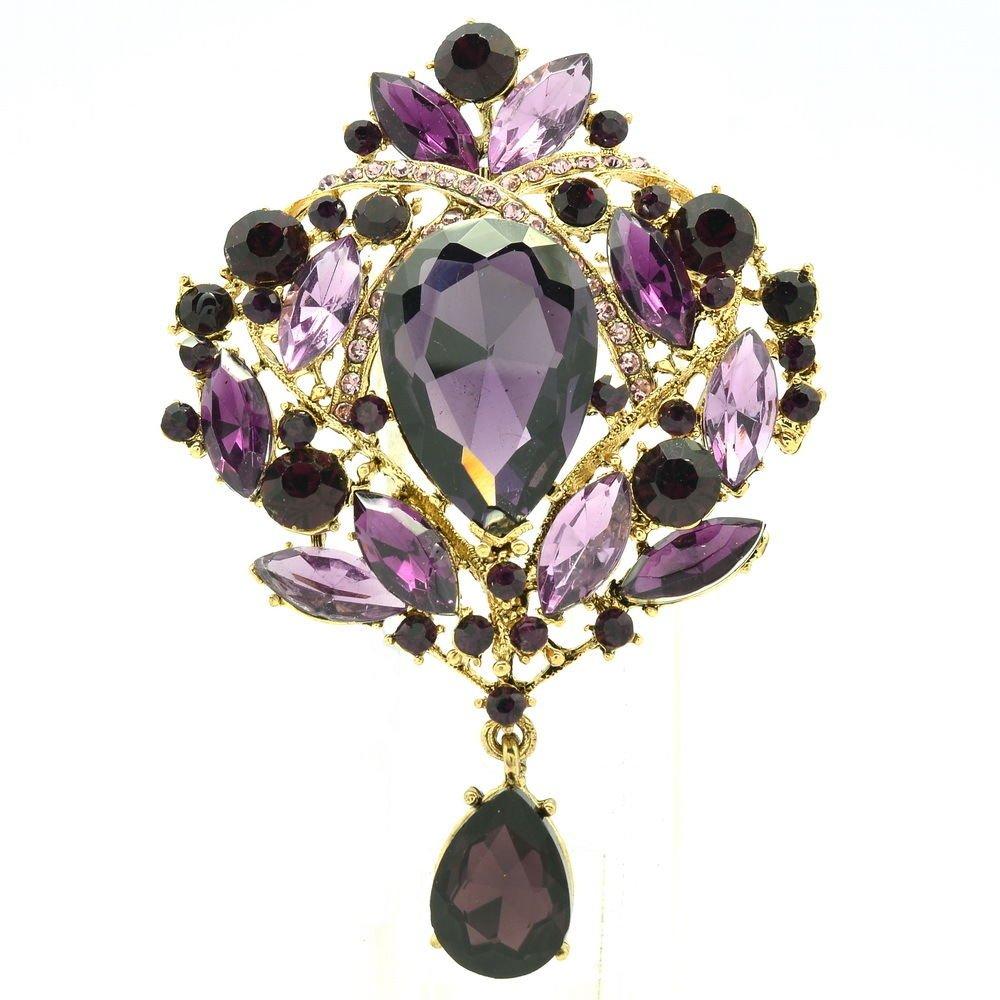 Vintage Purple Flower Brooch Broach Pins Jewelry Drop Rhinestone Crystal 4082