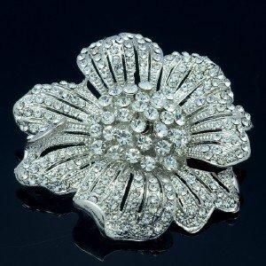 """Bridal Floral Pendant Brooch Broach Pin 2.3"""" w/ Clear Rhinestone Crystals"""