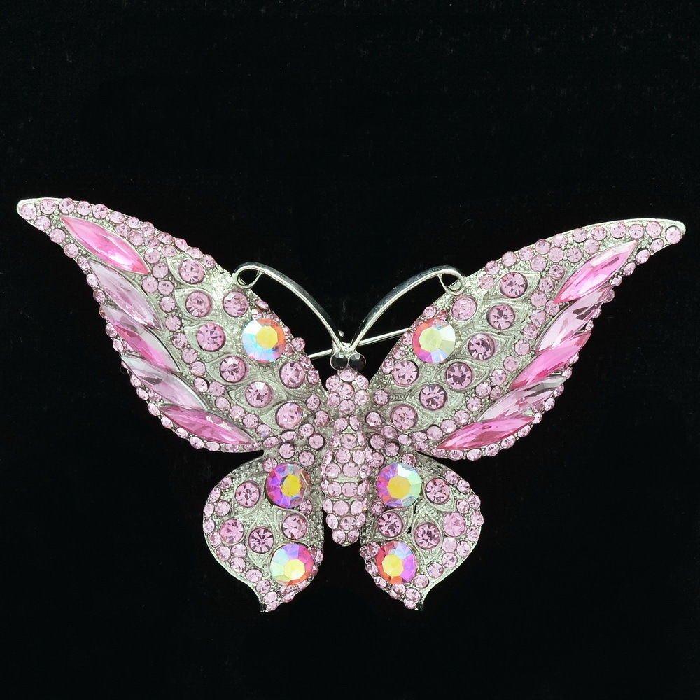 Women Animal Butterfly Brooch Broach Pin Jewelry Purple Rhinestone Crystal 4538