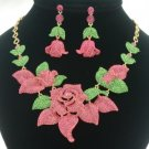 Pink Rose Flower Necklace Earring Set Rhinestone Crystal Floral Bud