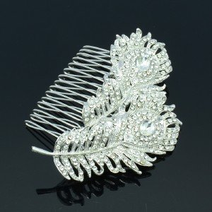 Dual Peacock Feathers Hair Comb Bridal Wedding Jewelry Rhinestone Crystals 2849