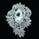 Wedding Silver Tone Flower Brooch Broach Pin Clear Rhinestone Crystals 6039