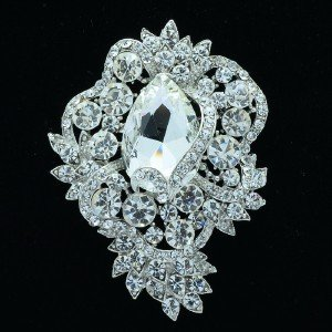 Wedding Silver Tone Flower Brooch Broach Pin Clear Rhinestone Crystals 6039