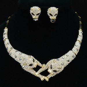 Rhinestone Crystals Dual Panther Necklace Earring Set Leopard Print  Gold Tone