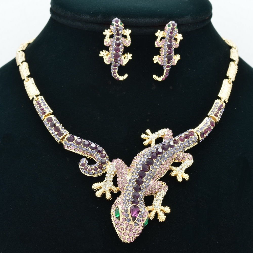 Purple Gecko Lizard  Necklace Earring Set Rhinestone Crystal Animal Women FA3274