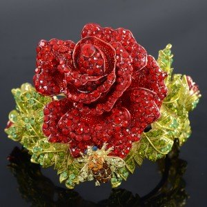 Stunning Red Rose Flower Bracelet Bangle Cuff W/ Rhinestones Crystals