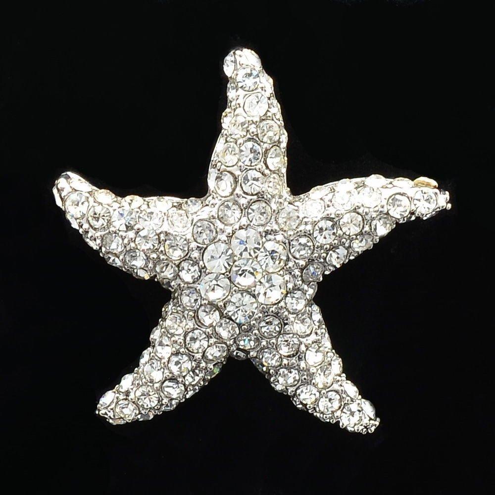 Pretty Bridal Rhinestone Crystals Clear Starfish Brooch Broach Scarf Pins FA0189